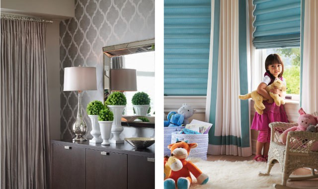 Grey drapes and teal blinds