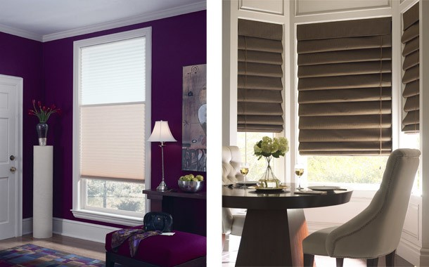 Pull down shades and wood blinds
