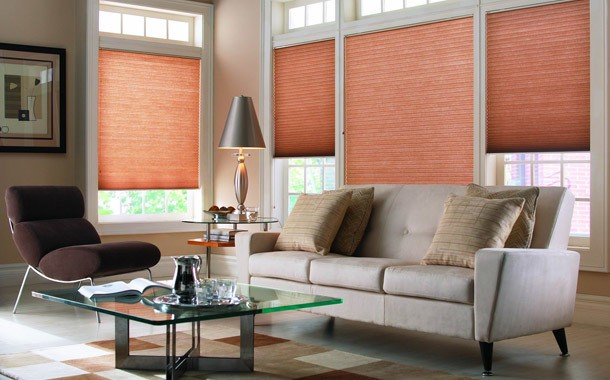 Orange living room blinds